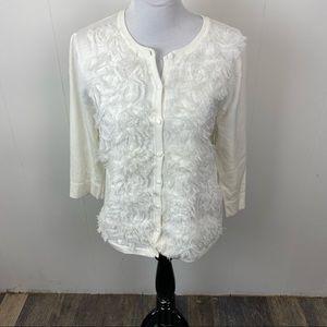 RED White Furry Cardigan Swearer Size XL
